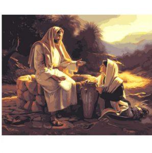 pintura de jesus y mujer