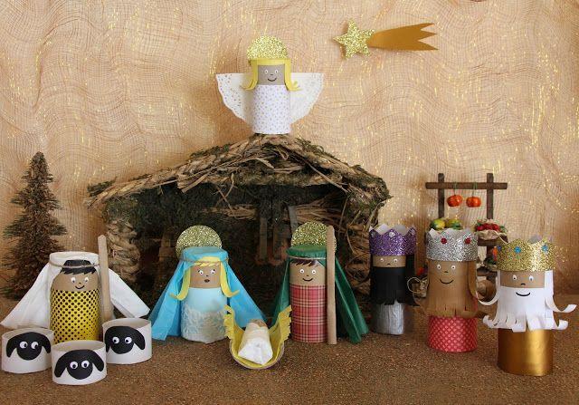 nacimiento de navidad con material reciclado